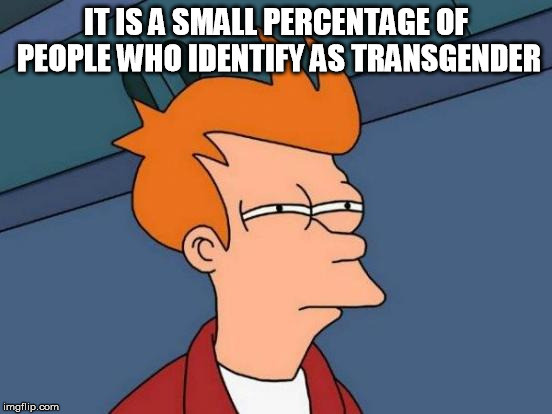 Futurama Fry Meme | IT IS A SMALL PERCENTAGE OF PEOPLE WHO IDENTIFY AS TRANSGENDER | image tagged in memes,futurama fry | made w/ Imgflip meme maker
