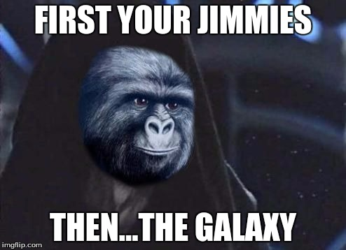 Emperor Rustling |  FIRST YOUR JIMMIES; THEN...THE GALAXY | image tagged in emperor rustling | made w/ Imgflip meme maker