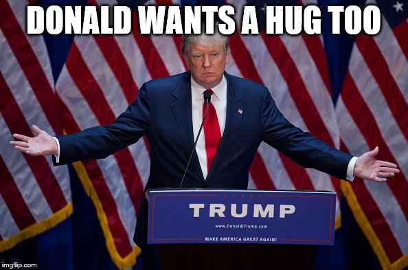 Trump Bruh | DONALD WANTS A HUG TOO | image tagged in trump bruh | made w/ Imgflip meme maker