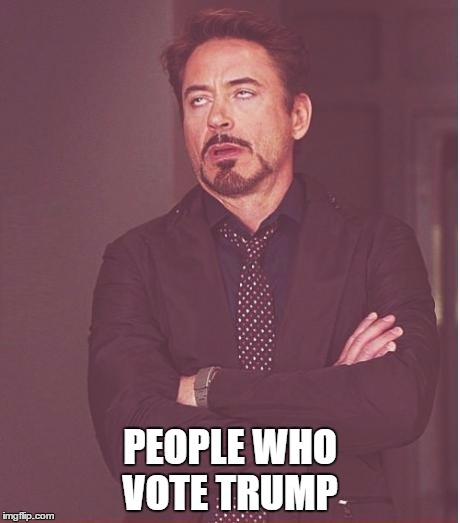 Face You Make Robert Downey Jr Meme | PEOPLE WHO VOTE TRUMP | image tagged in memes,face you make robert downey jr | made w/ Imgflip meme maker