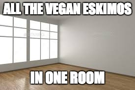 ALL THE VEGAN ESKIMOS IN ONE ROOM | image tagged in vegan,eskimo,empty room | made w/ Imgflip meme maker
