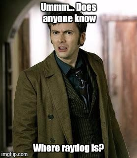 Where is the dog? | Ummm... Does anyone know Where raydog is? | image tagged in doctor who is confused | made w/ Imgflip meme maker