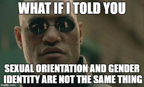 Matrix Morpheus Meme | WHAT IF I TOLD YOU SEXUAL ORIENTATION AND GENDER IDENTITY ARE NOT THE SAME THING | image tagged in memes,matrix morpheus | made w/ Imgflip meme maker