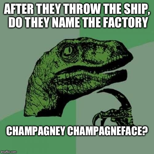 Philosoraptor Meme | AFTER THEY THROW THE SHIP, DO THEY NAME THE FACTORY CHAMPAGNEY CHAMPAGNEFACE? | image tagged in memes,philosoraptor | made w/ Imgflip meme maker