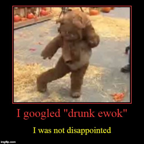 "Take ewok on the wild side :) | I googled ""drunk ewok"" 