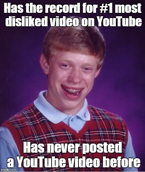 Bad Luck Brian Meme | Has the record for #1 most disliked video on YouTube Has never posted a YouTube video before | image tagged in memes,bad luck brian | made w/ Imgflip meme maker