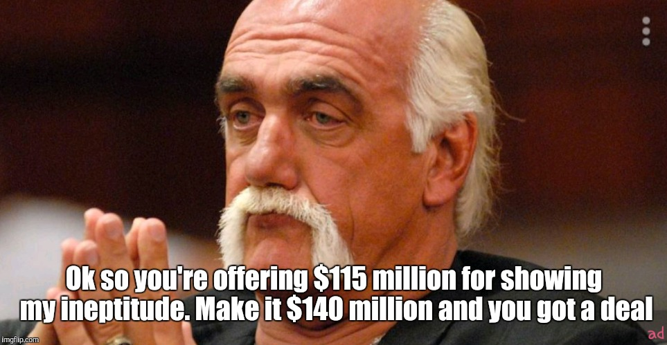Ok so you're offering $115 million for showing my ineptitude. Make it $140 million and you got a deal | image tagged in hulk hogan,sex tape,scandal,conspiracy theory | made w/ Imgflip meme maker