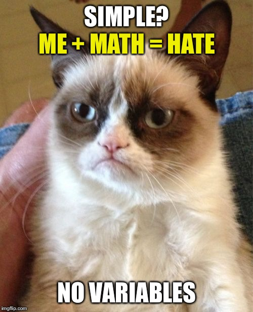 Grumpy Cat Meme | SIMPLE? NO VARIABLES ME + MATH = HATE | image tagged in memes,grumpy cat | made w/ Imgflip meme maker