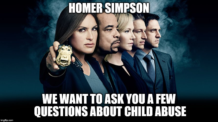 HOMER SIMPSON WE WANT TO ASK YOU A FEW QUESTIONS ABOUT CHILD ABUSE | made w/ Imgflip meme maker