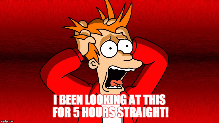 Fry Panic | I BEEN LOOKING AT THIS FOR 5 HOURS STRAIGHT! | image tagged in fry panic | made w/ Imgflip meme maker