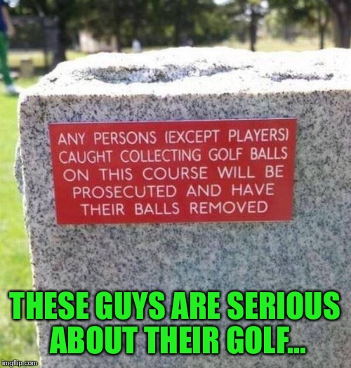 These Rules May Be A Little Drastic.... | THESE GUYS ARE SERIOUS ABOUT THEIR GOLF... | image tagged in golf,lynch1979,memes,lol | made w/ Imgflip meme maker