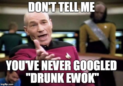 "Picard Wtf Meme | DON'T TELL ME YOU'VE NEVER GOOGLED ""DRUNK EWOK"" 