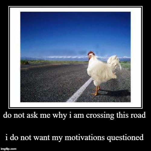 do not ask me why i am crossing this road | i do not want my motivations questioned | image tagged in funny,demotivationals | made w/ Imgflip demotivational maker