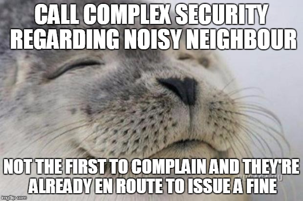Happy Seal | CALL COMPLEX SECURITY REGARDING NOISY NEIGHBOUR NOT THE FIRST TO COMPLAIN AND THEY'RE ALREADY EN ROUTE TO ISSUE A FINE | image tagged in happy seal,AdviceAnimals | made w/ Imgflip meme maker