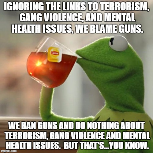 But Thats None Of My Business Meme | IGNORING THE LINKS TO TERRORISM, GANG VIOLENCE, AND MENTAL HEALTH ISSUES, WE BLAME GUNS. WE BAN GUNS AND DO NOTHING ABOUT TERRORISM, GANG VI | image tagged in memes,but thats none of my business,kermit the frog | made w/ Imgflip meme maker