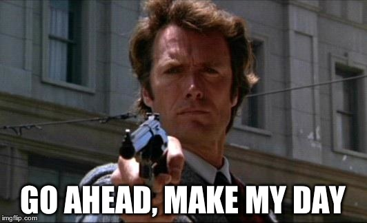 Dirty Harry | GO AHEAD, MAKE MY DAY | image tagged in dirty harry | made w/ Imgflip meme maker
