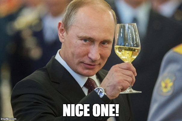 Putin Cheers | NICE ONE! | image tagged in putin cheers | made w/ Imgflip meme maker