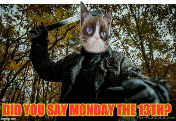 grumpy cat jason | DID YOU SAY MONDAY THE 13TH? | image tagged in grumpy cat jason | made w/ Imgflip meme maker