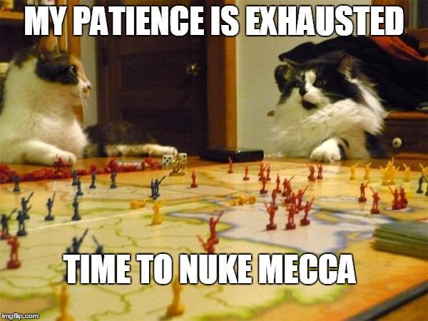 MY PATIENCE IS EXHAUSTED | MY PATIENCE IS EXHAUSTED TIME TO NUKE MECCA | image tagged in imperialism cats,muslim,islam,nuclear explosion,middle east,terrorism | made w/ Imgflip meme maker