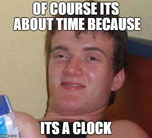 10 Guy Meme | OF COURSE ITS ABOUT TIME BECAUSE ITS A CLOCK | image tagged in memes,10 guy | made w/ Imgflip meme maker
