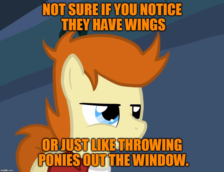 Futurama Fry Pony | NOT SURE IF YOU NOTICE THEY HAVE WINGS OR JUST LIKE THROWING PONIES OUT THE WINDOW. | image tagged in futurama fry pony | made w/ Imgflip meme maker