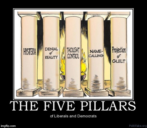 The five pillars of liberalism | . | image tagged in the five pillars of liberalism | made w/ Imgflip meme maker