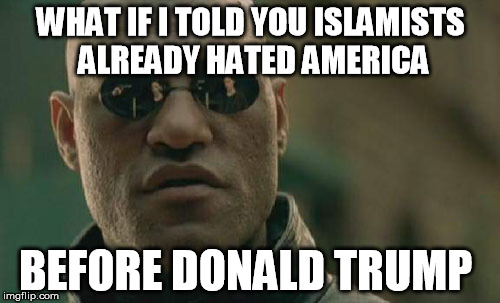 Matrix Morpheus Meme | WHAT IF I TOLD YOU ISLAMISTS ALREADY HATED AMERICA BEFORE DONALD TRUMP | image tagged in memes,matrix morpheus,AdviceAnimals | made w/ Imgflip meme maker