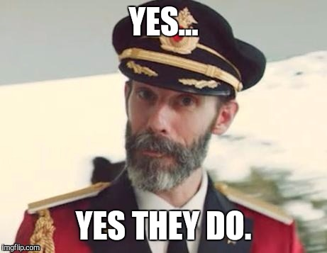 Captain obvious | YES... YES THEY DO. | image tagged in captain obvious | made w/ Imgflip meme maker