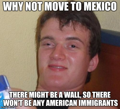 10 Guy Meme | WHY NOT MOVE TO MEXICO THERE MIGHT BE A WALL, SO THERE WON'T BE ANY AMERICAN IMMIGRANTS | image tagged in memes,10 guy | made w/ Imgflip meme maker