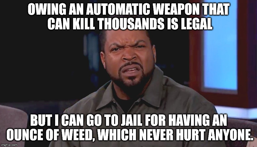 really? why isn't weed legal? |  OWING AN AUTOMATIC WEAPON THAT CAN KILL THOUSANDS IS LEGAL; BUT I CAN GO TO JAIL FOR HAVING AN OUNCE OF WEED, WHICH NEVER HURT ANYONE. | image tagged in really ice cube,marijuana,weed,automatic weapons,legalize weed | made w/ Imgflip meme maker
