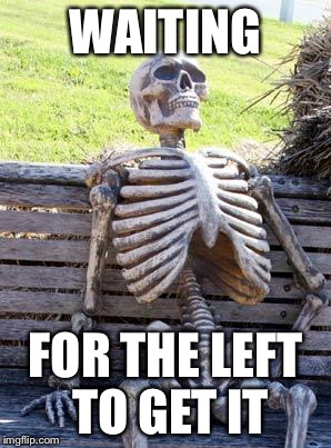 Waiting Skeleton Meme | WAITING FOR THE LEFT TO GET IT | image tagged in memes,waiting skeleton | made w/ Imgflip meme maker