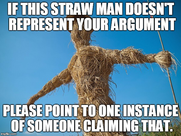 IF THIS STRAW MAN DOESN'T REPRESENT YOUR ARGUMENT PLEASE POINT TO ONE INSTANCE OF SOMEONE CLAIMING THAT. | image tagged in strawman | made w/ Imgflip meme maker
