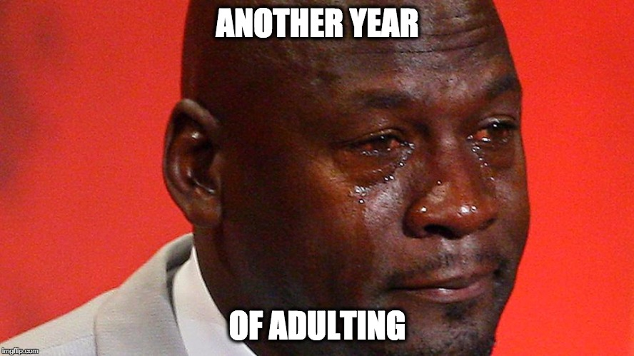 ANOTHER YEAR OF ADULTING | image tagged in michael jordan | made w/ Imgflip meme maker