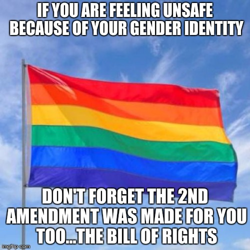 Gay pride flag | IF YOU ARE FEELING UNSAFE BECAUSE OF YOUR GENDER IDENTITY DON'T FORGET THE 2ND AMENDMENT WAS MADE FOR YOU TOO...THE BILL OF RIGHTS | image tagged in gay pride flag | made w/ Imgflip meme maker