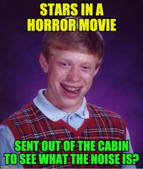 Bad Luck Brian Meme | STARS IN A HORROR MOVIE SENT OUT OF THE CABIN TO SEE WHAT THE NOISE IS? | image tagged in memes,bad luck brian | made w/ Imgflip meme maker