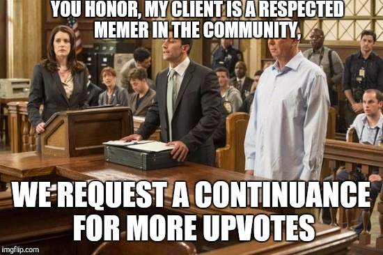 YOU HONOR, MY CLIENT IS A RESPECTED MEMER IN THE COMMUNITY, WE REQUEST A CONTINUANCE FOR MORE UPVOTES | made w/ Imgflip meme maker