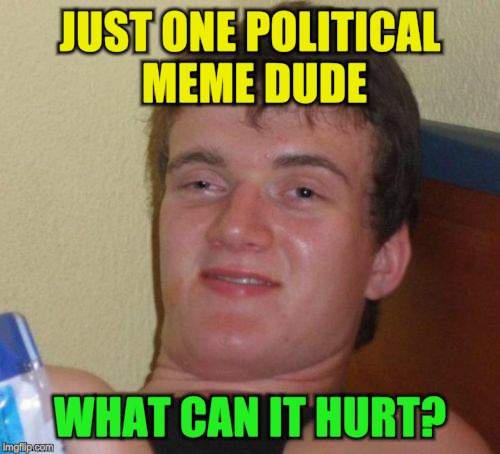 10 Guy Meme | JUST ONE POLITICAL MEME DUDE WHAT CAN IT HURT? | image tagged in memes,10 guy | made w/ Imgflip meme maker