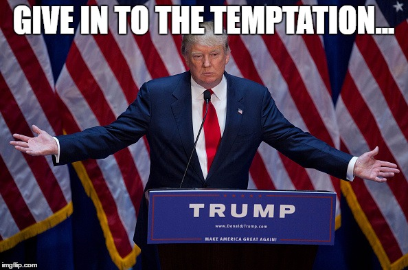 Trump Bruh | GIVE IN TO THE TEMPTATION... | image tagged in trump bruh | made w/ Imgflip meme maker