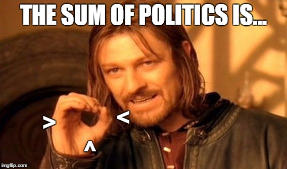 One Does Not Simply Meme | THE SUM OF POLITICS IS... ^ < > | image tagged in memes,one does not simply | made w/ Imgflip meme maker