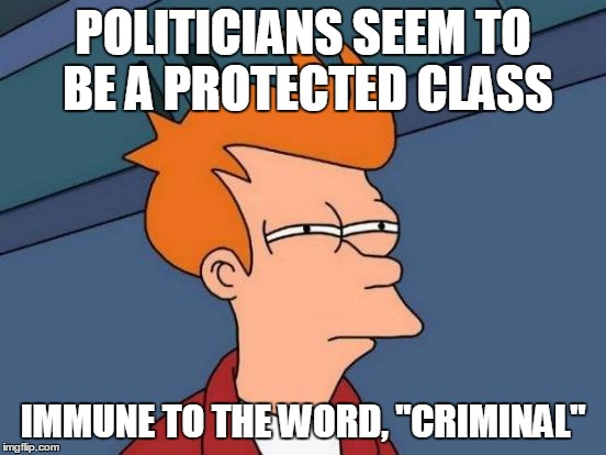 "Futurama Fry Meme | POLITICIANS SEEM TO BE A PROTECTED CLASS IMMUNE TO THE WORD, ""CRIMINAL"" 