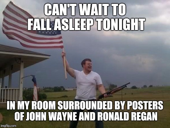 Gun loving conservative | CAN'T WAIT TO FALL ASLEEP TONIGHT IN MY ROOM SURROUNDED BY POSTERS OF JOHN WAYNE AND RONALD REGAN | image tagged in gun loving conservative | made w/ Imgflip meme maker