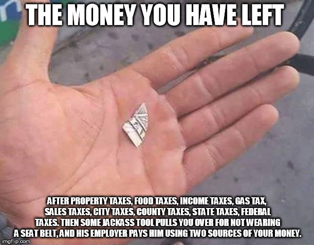 Money left from taxes and other theft | THE MONEY YOU HAVE LEFT AFTER PROPERTY TAXES, FOOD TAXES, INCOME TAXES, GAS TAX, SALES TAXES, CITY TAXES, COUNTY TAXES, STATE TAXES, FEDERAL | image tagged in money,taxes,dollar,ripped,stealing,government | made w/ Imgflip meme maker