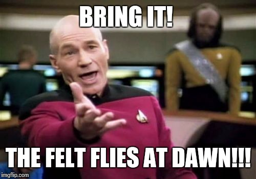 Picard Wtf Meme | BRING IT! THE FELT FLIES AT DAWN!!! | image tagged in memes,picard wtf | made w/ Imgflip meme maker