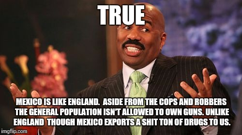 Steve Harvey Meme | TRUE MEXICO IS LIKE ENGLAND.  ASIDE FROM THE COPS AND ROBBERS THE GENERAL POPULATION ISN'T ALLOWED TO OWN GUNS. UNLIKE ENGLAND  THOUGH MEXIC | image tagged in memes,steve harvey | made w/ Imgflip meme maker