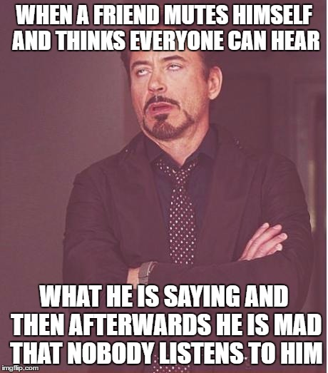 When a Friend Mutes Himself | WHEN A FRIEND MUTES HIMSELF AND THINKS EVERYONE CAN HEAR WHAT HE IS SAYING AND THEN AFTERWARDS HE IS MAD THAT NOBODY LISTENS TO HIM | image tagged in memes,face you make robert downey jr,mute,friend,listen,himself | made w/ Imgflip meme maker