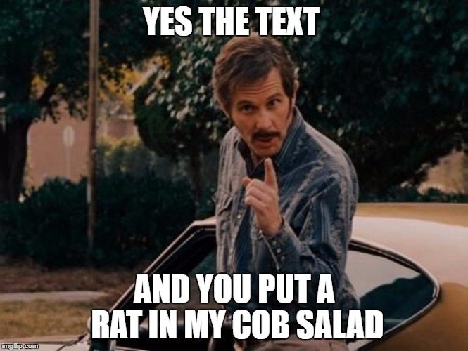 Reese Bobby Talladega Nights | YES THE TEXT AND YOU PUT A RAT IN MY COB SALAD | image tagged in reese bobby talladega nights | made w/ Imgflip meme maker