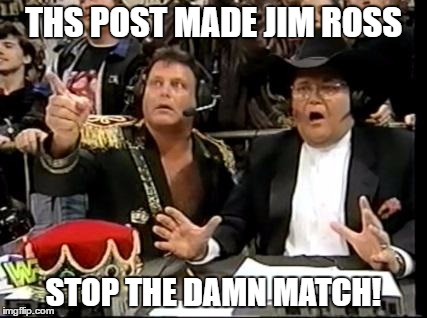 This post made JR stop the damn match! |  THS POST MADE JIM ROSS; STOP THE DAMN MATCH! | image tagged in jim ross,stop,match,wwe | made w/ Imgflip meme maker