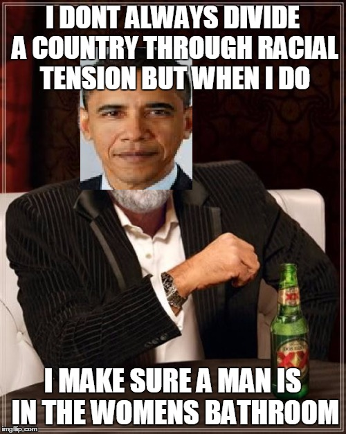 I DONT ALWAYS DIVIDE A COUNTRY THROUGH RACIAL TENSION BUT WHEN I DO I MAKE SURE A MAN IS IN THE WOMENS BATHROOM | made w/ Imgflip meme maker