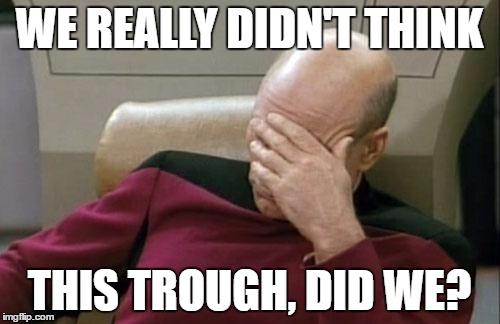 Captain Picard Facepalm Meme | WE REALLY DIDN'T THINK THIS TROUGH, DID WE? | image tagged in memes,captain picard facepalm | made w/ Imgflip meme maker