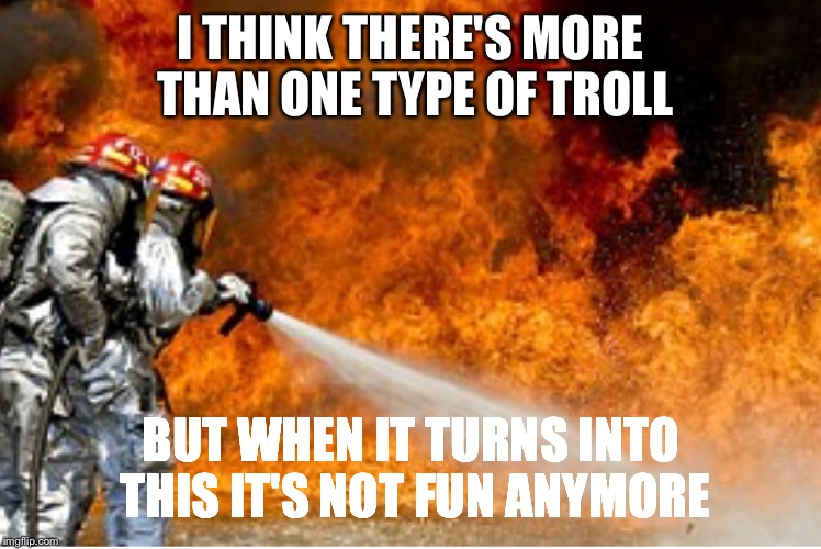 HOSING DOWN FLAMES | I THINK THERE'S MORE THAN ONE TYPE OF TROLL BUT WHEN IT TURNS INTO THIS IT'S NOT FUN ANYMORE | image tagged in hosing down flames | made w/ Imgflip meme maker